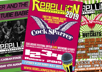 Various adverts for bands